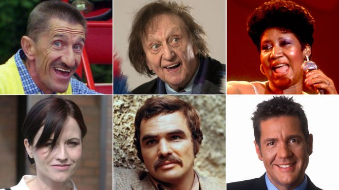Clockwise from top left: Barry Chuckle, Ken Dodd, Aretha Franklin, Dale Winton, Burt Reynolds and Dolores O'Riordan