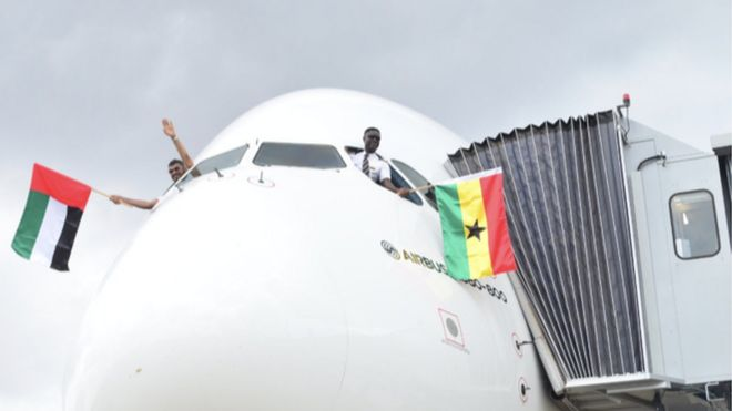 world biggest four storey airplane a380 land for ghana bbc news