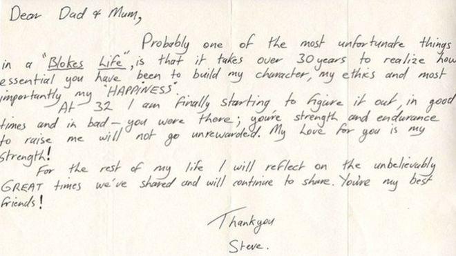 Steve Irwin Letter Reveals Gratitude To Parents Bbc News