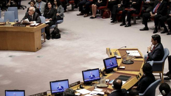 ریاض منصور نماینده فلسطینی ها در این جلسه صحبت کرد