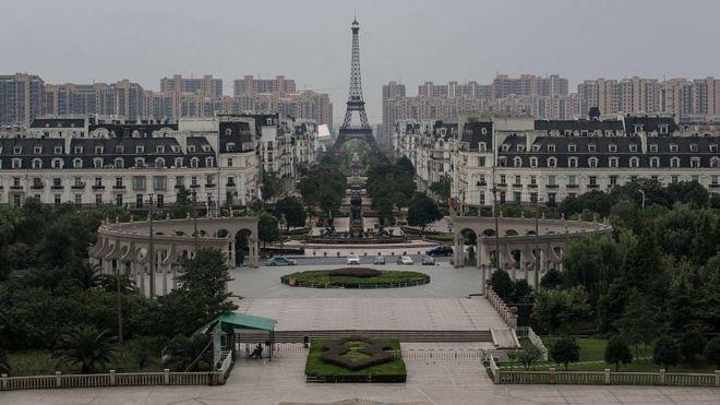 A replica of Paris in Tianducheng, Hangzhou, Zhejiang