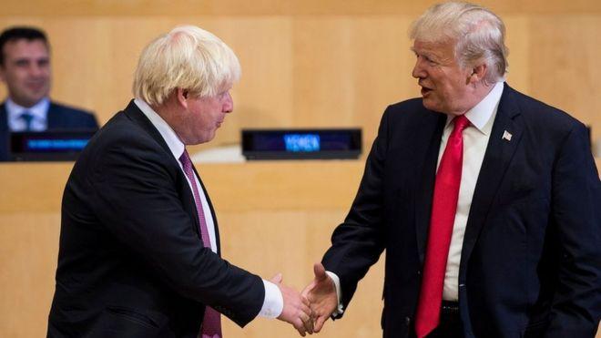 Boris Johnson and Donald Trump shake hands