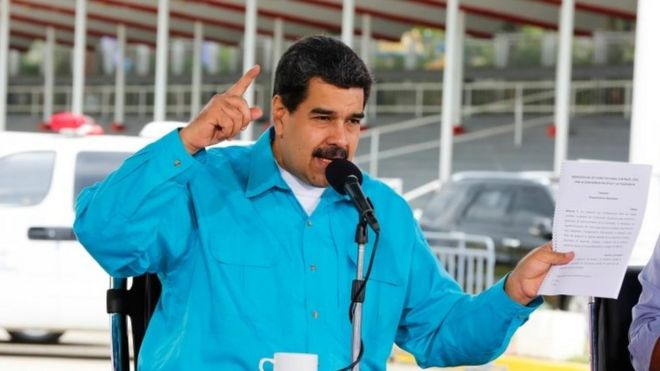 A handout photo made available by Miraflores, shows the Venezuelan President Nicolas Maduro, speaks during a government event, in Caracas, Venezuela, on 02 November
