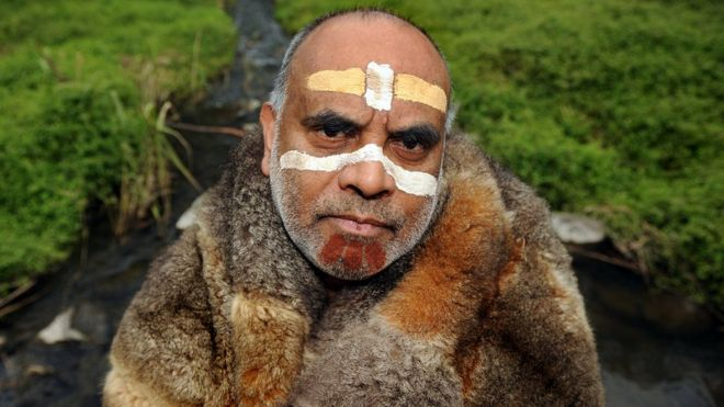 Aboriginal elder Gary Murray, pictured wearing traditional dress