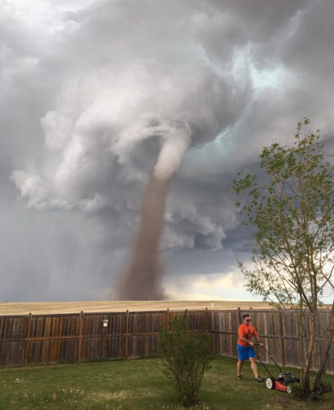 Cecilia Wessels' photo of her husband Theunis mowing a lawn with a tornado behind him