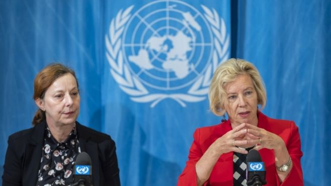 Two directors from the WHO at the convention in Geneva