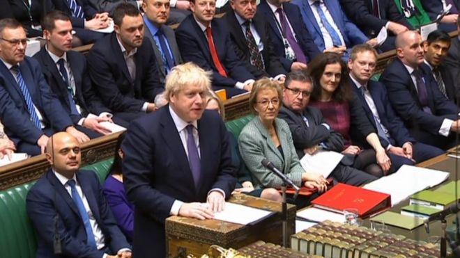 英国首相鲍里斯·约翰逊在议会就脱欧协议草案讲话