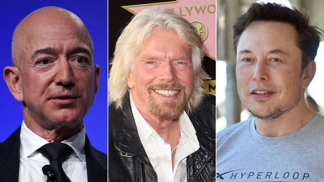 Jeff Bezos, Richard Branson, Elon Musk