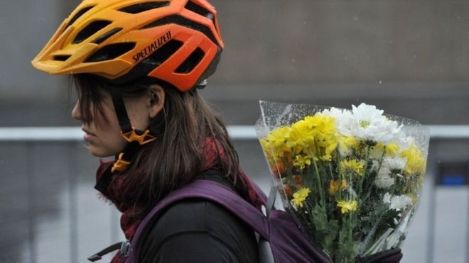 Cyclist with flowers