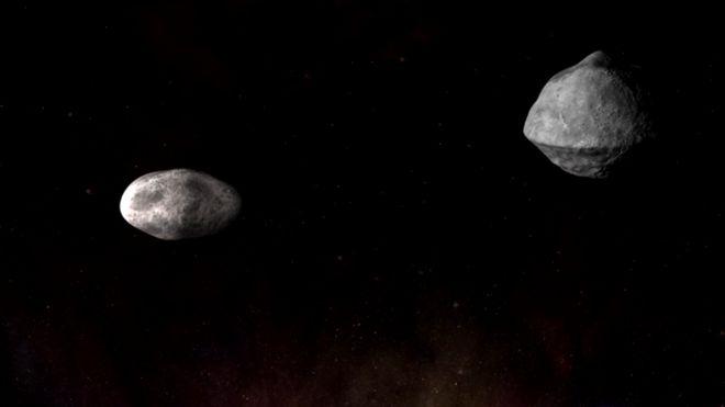 Captura de pantalla de la animación del asteroide Didymos.