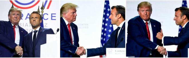 Donald Trump and Emmanuel Macron at the G7 Summit in France in August