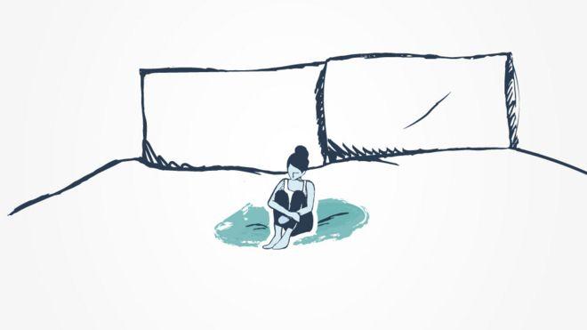 Ilustração de uma mulher na cama