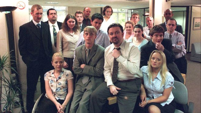 Ricky Gervais (centre) With The Cast Of The Office