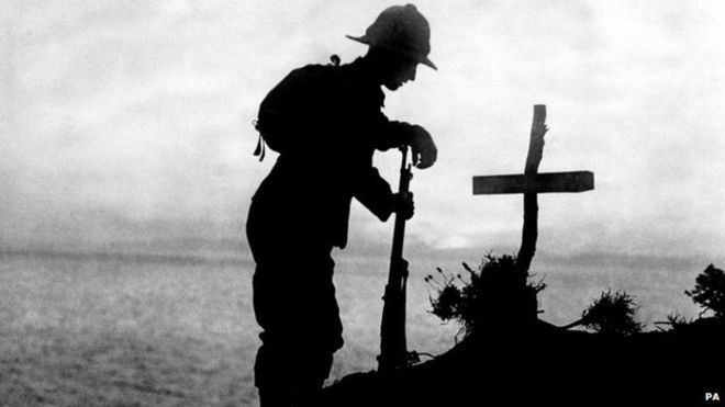 A British soldier at a grave in Gallipoli