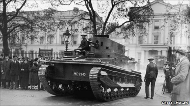 An armoured tank leaves Wellington Barracks in London on the penultimate  day of the General Strike