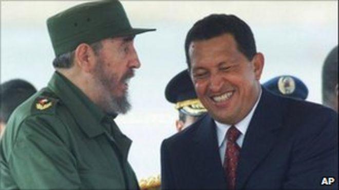 Фидель Кастро (слева) и Уго Чавес