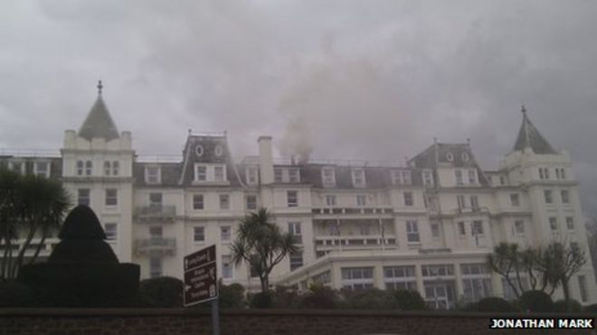 Torquay S The Grand Hotel Evacuated Over Chimney Fire Bbc News
