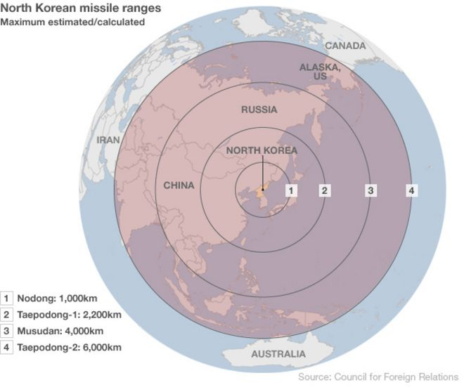 How Potent Are North Koreas Threats BBC News - Threats to us on a map