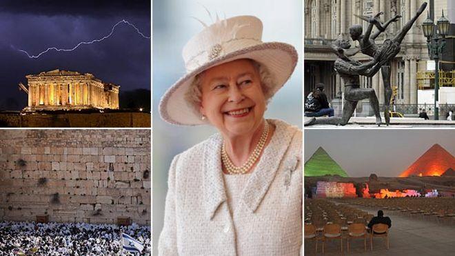 Королева, по часовой стрелке слева Парфенон в Афинах, Театр Колон в Буэнос-Айресе, пирамиды в Гизе и Стена Плача в Иерусалиме