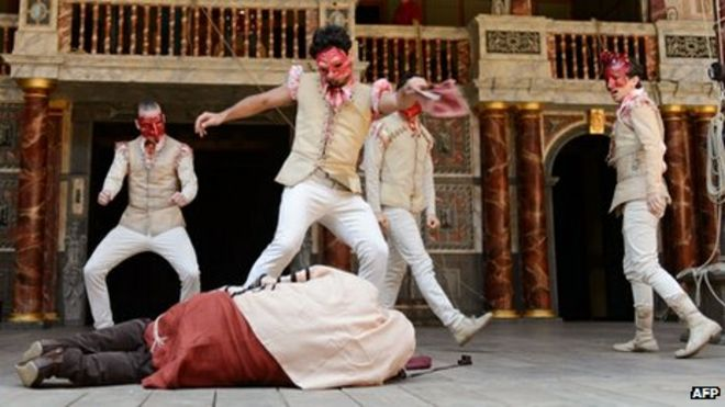 Members Of The Habima Theatre Company From Tel Aviv On Stage At Globe