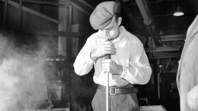 Glass making and blowing at James A Jobling Wear Flint Glassworks, Sunderland on 5 December 1956. Photo: Beamish Museum