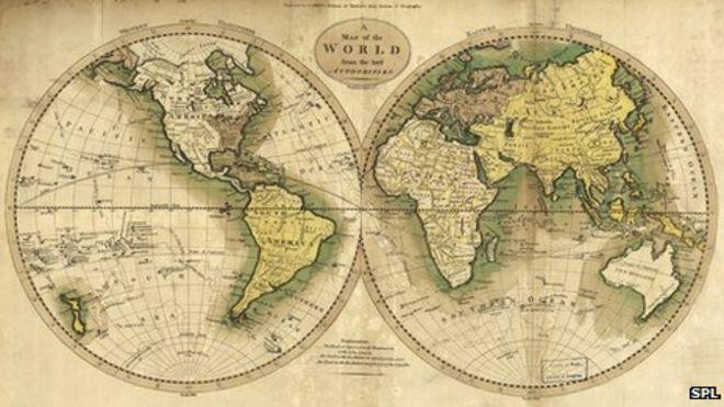 Карта с восточным и западным полушариями в виде шаров