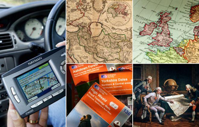 Слева вверху, по часовой стрелке: человек, использующий GPS в автомобиле, старинная карта мира, карта Британских островов, портрет Людовика XVI, смотрящий на карту, стопка карт обследования боеприпасов