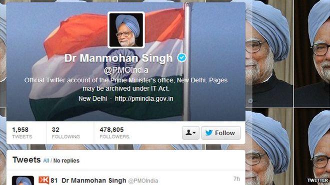 Страница Манмохана Сингха в Твиттере