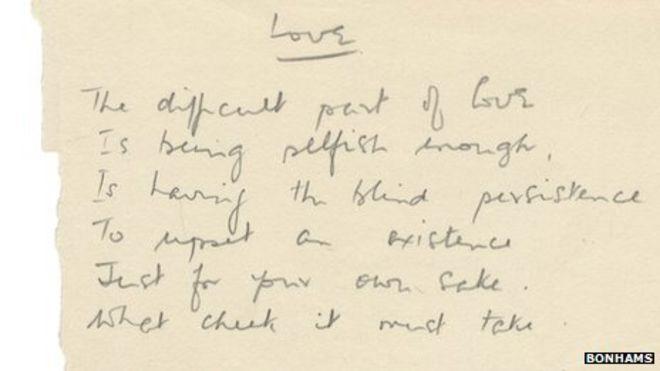 philip larkin handwritten poem sold for 7 500 bbc news