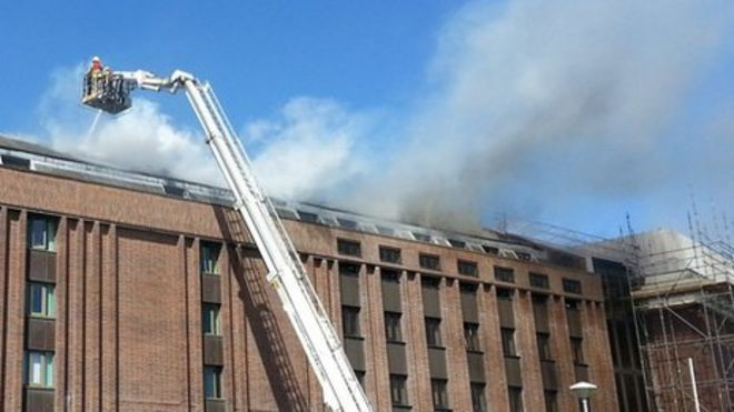 National Library of Wales fire: Company working on roof in