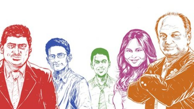 (Слева направо) Нандан Нилекани, Бен Гомес, Рикин Ганди, Ручи Сангви и Санджив Бихчандани - иллюстраторы: Сумит Кумар)