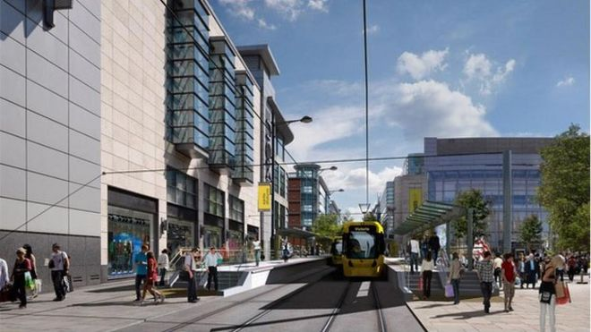 Artist impression of a proposed new tram stop in Exchange Square