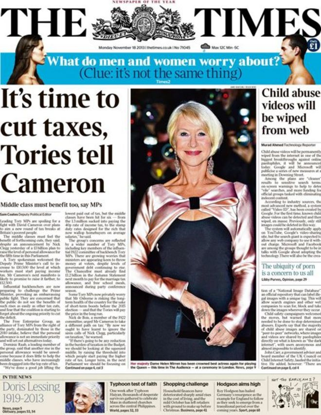 Image result for the times of london headlines 2013