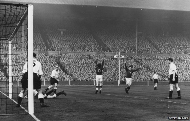 2cfa7f2fdf3 Ferenc Puskas scores Hungary s third goal during the 1953 England-Hungary  match