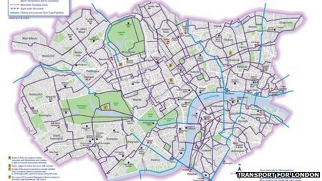 London Map Central.London Cycle Network Map Published Bbc News