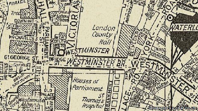 Карта Лондона A-Z 1936 года, до введения цвета