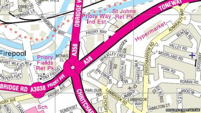 Карта улиц района Тонтон