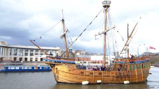 Tyntesfield tree felled for matthew tall ship mast bbc news the matthew of bristol tall ship sciox Gallery