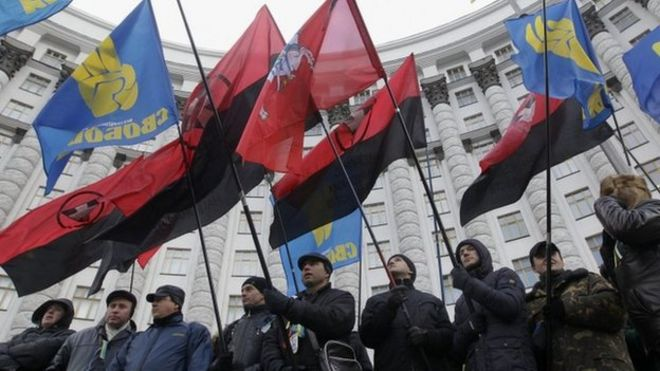 Image result for Ukraine fascists flags in maidan coup  images