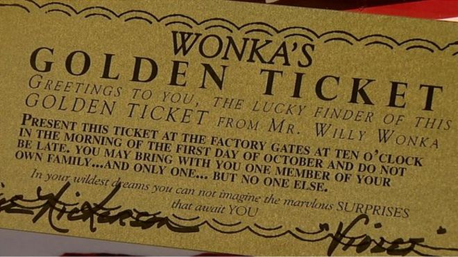 Willy Wonka Collector S Golden Ticket Bbc News