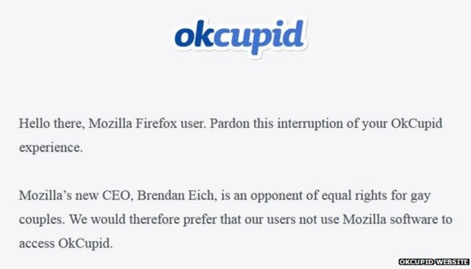 OKCupid seeks to block Mozilla Firefox over gay rights - BBC