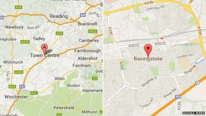 Map Of Basingstoke Google Maps 'renames Basingstoke'   BBC News