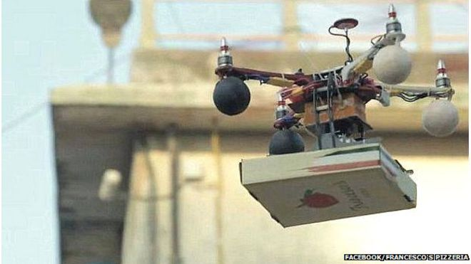 Photo Of A Pizza Being Delivered By Drone