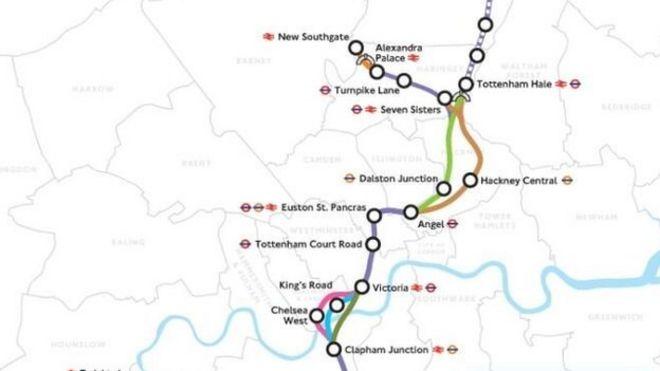 Crossrail 2 Map Crossrail 2 changed following consultation   BBC News Crossrail 2 Map