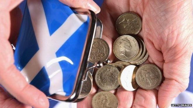 Шотландский кошелек опрокидывания денег