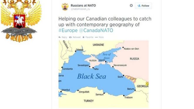 BBCTrending Canada and Russia in Twitter fight over map BBC News