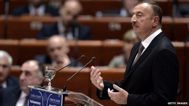 Президент Азербайджана Ильхам Алиев выступил с речью перед Советом Европы в Страсбурге, восточная Франция, 24 июня 2014 года
