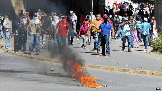 Протестующие в Чилпансинго, штат Герреро