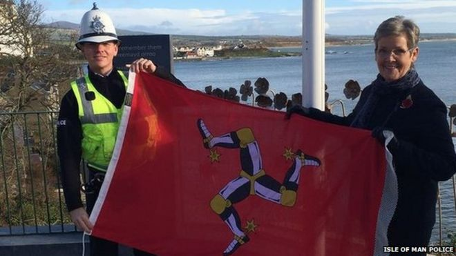 stolen isle of man flags replaced after twitter appeal bbc news