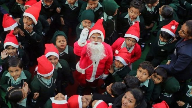 indian students gather for a school event to mark the upcoming christmas celebrations in bhopal - Who Celebrates Christmas